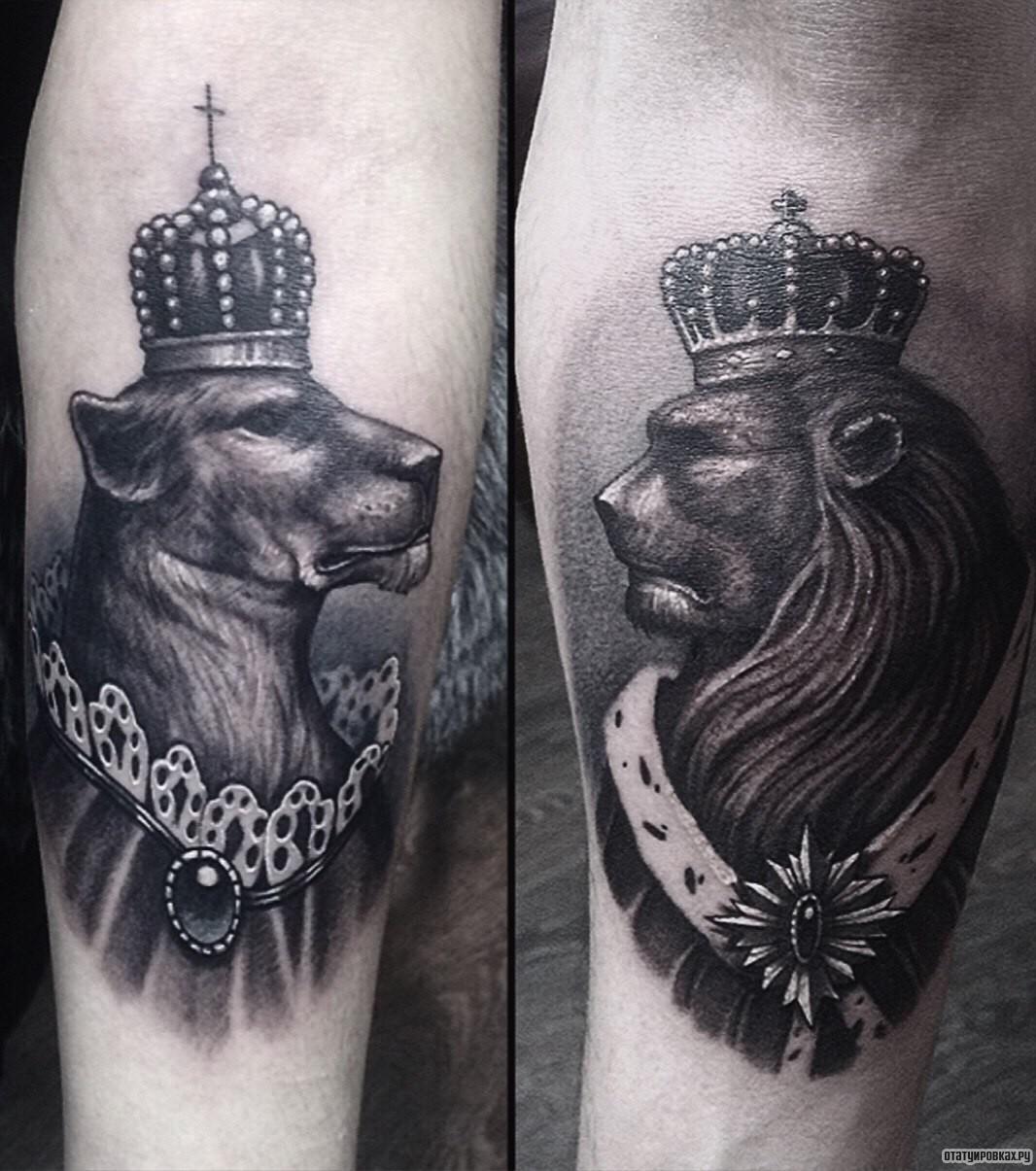 Лев с короной татуировки фото