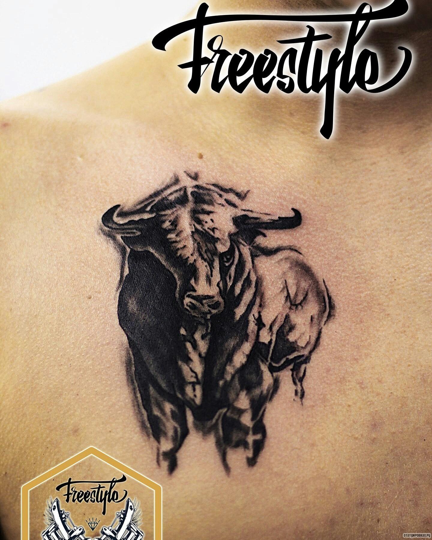 Фото татуировок виде быка
