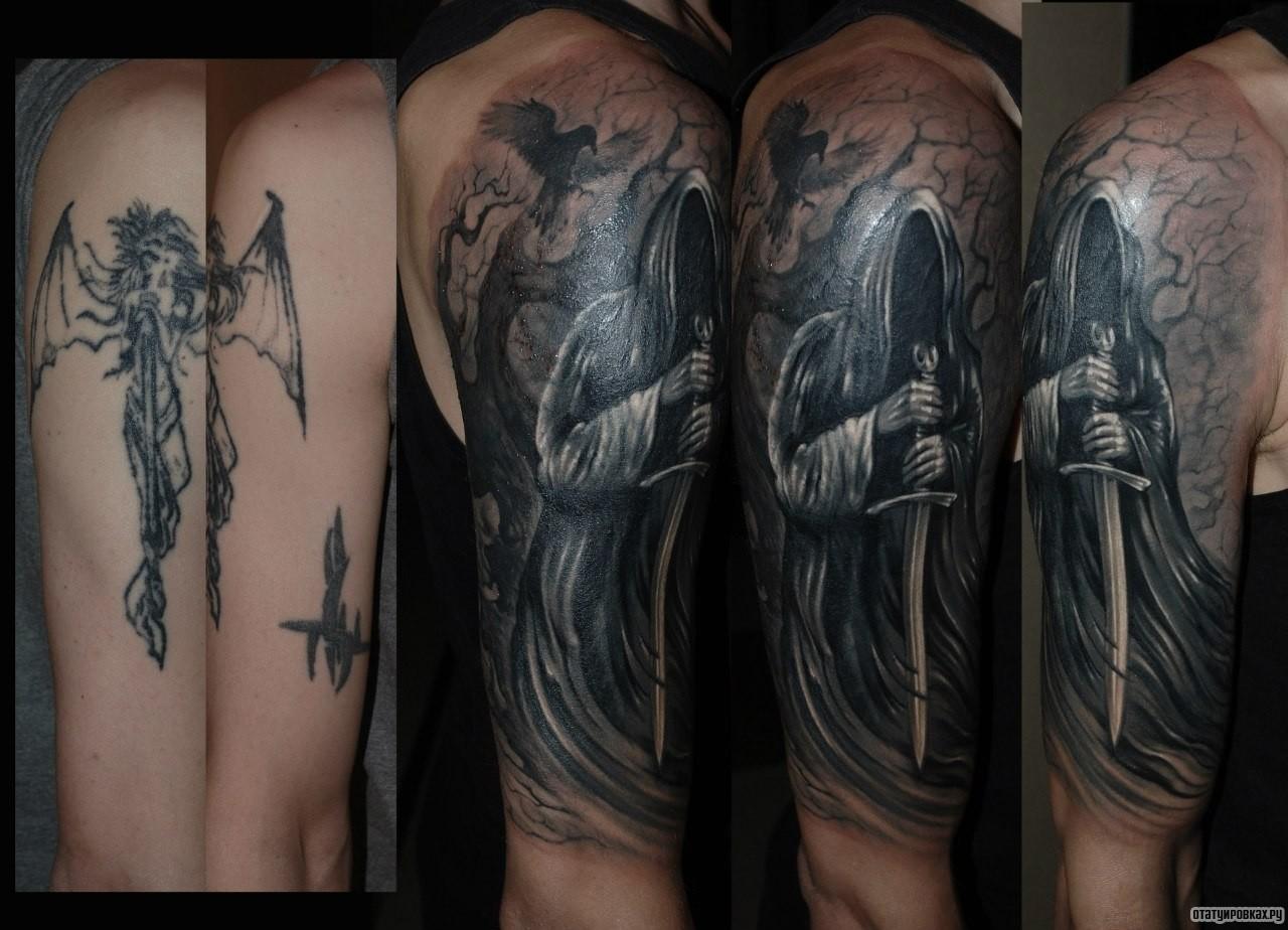 парень обратился тату на руке ангел с мечом фото тем